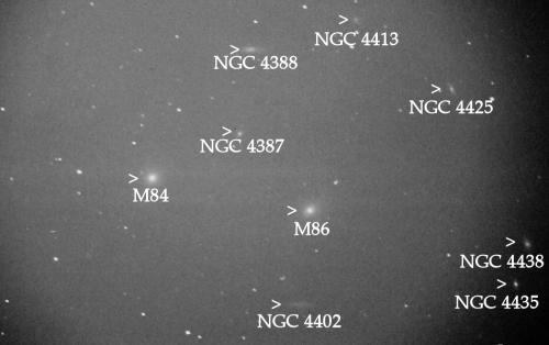 De Virgocluster gelabeld