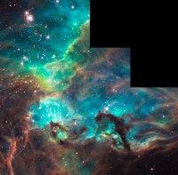 De stercluster NGC 2074 en omgevingDe stercluster NGC 2074 en omgeving