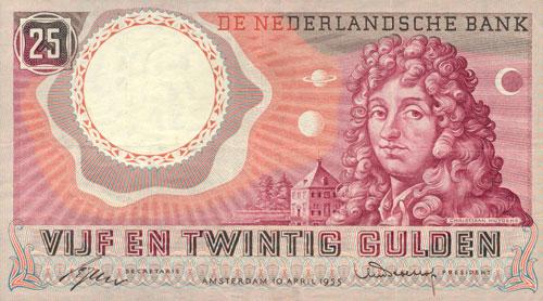 Een bankbiljet met Huygens erop