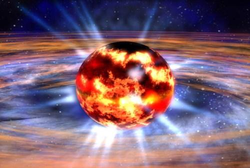 Impressie van neutronenster J17480