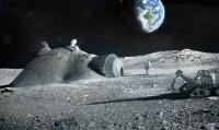 Concept van een met een 3D-printer gebouwde maanbasis