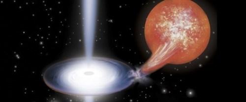 Voorstelling van een zwart gat die jets uitspuugt in een dubbelstersysteem (credit: Riccardo Lanfranchi)