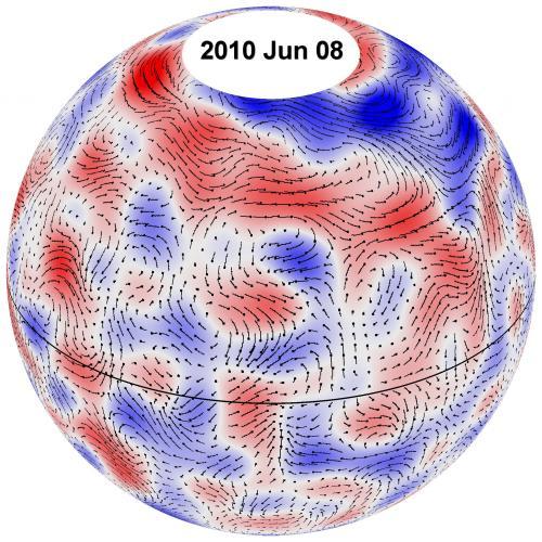 Circulatiepatronen van reuzencellen op de zon