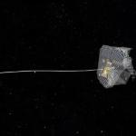 Satelliet vangen met nylon net (test)