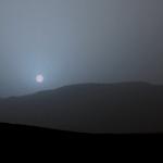 De blauwe zonsondergang op Mars