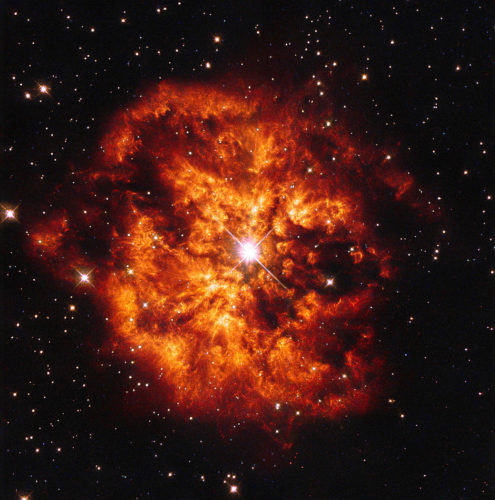 Here we see the spectacular cosmic pairing of the star Hen 2-427  </p data-recalc-dims=