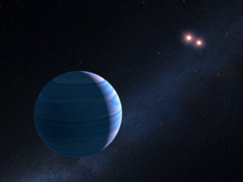 Impressie van m OGLE-2007-BLG-349, located 8 000 light-years away. The planet  </p data-recalc-dims=