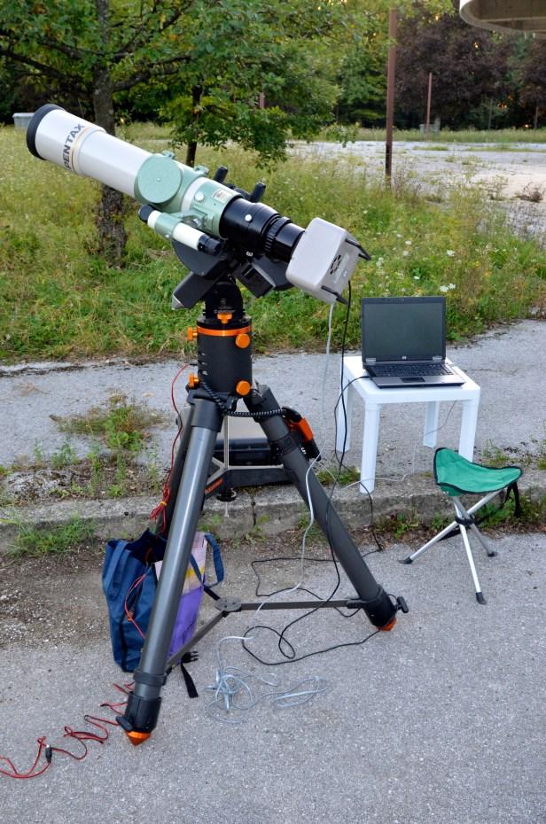 Moj astrofotografski setup: Pentax 105 SDP, Celestron CGE, SBIG STL-11000M, laptop, eksterna baterija.
