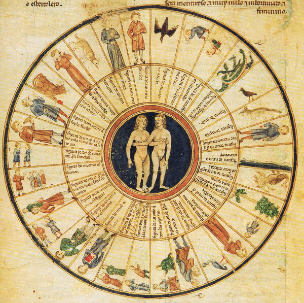 Soul Astrology: Painting of Twin Souls standing in the center of the Zodiac