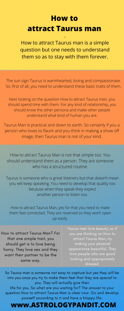 How to attract Taurus man infographics