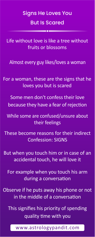 Signs he loves you but is scared info graphic