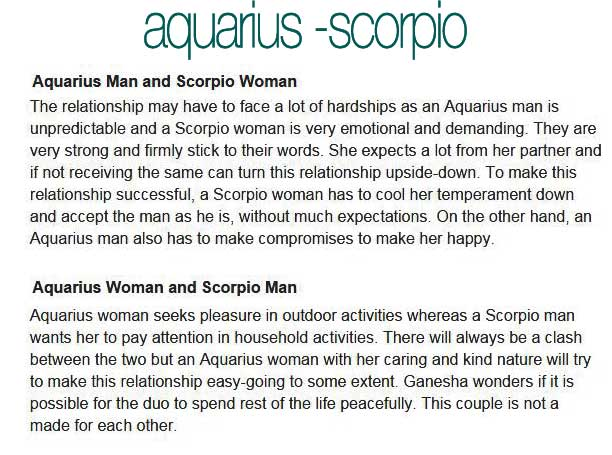Aquarius man Scorpio woman compatibility in love online