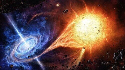 Agujero negro devorando estrellas