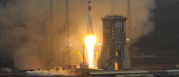 La missione Soyuz VS01 è decollata dallo spazioporto europeo di Kourou, in Guyana Francese, alle 12:30:26 CEST di oggi 21 ottobre 2011.