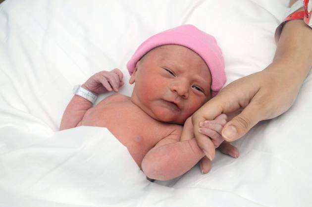 Newborn baby holding mama's hand
