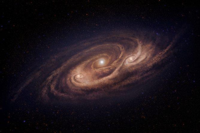 Ilustrasi galaksi starburst COSMOS-AzTEC-1. Kredit: NAOJ