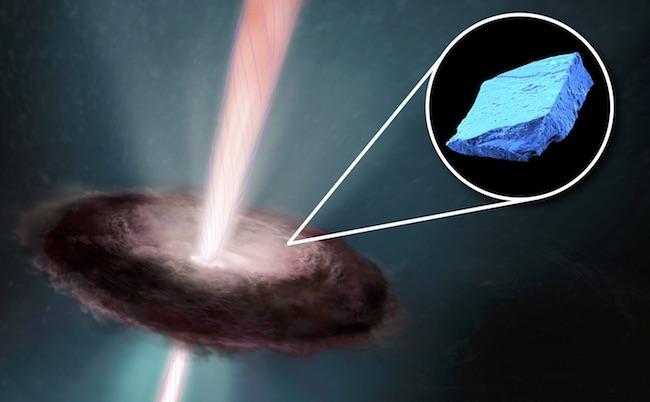Ilustrasi awal mula Tata Surya dan kristal biru yang ada dalam meteorit. Kredit: Field Museum, University of Chicago, NASA, ESA, dan E. Feild (STScl).