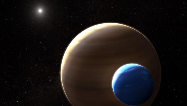 Ilustrasi sistem Kepler-1625 dengan satelit raksasa seukuran Neptunus. Kredit: NASA, ESA, and L. Hustak (STScI)