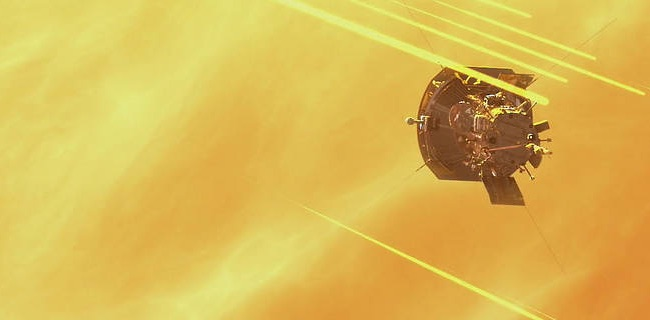 Ilustrasi Parker Solar Probe saat berpapasan dengan Matahari. Kredit: NASA's Goddard Space Flight Center