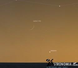 Congiunzione Luna - Saturno, giorno 13 ore 17:30