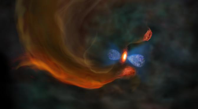 Observan la dinámica del gas en el interior de una nube molecular