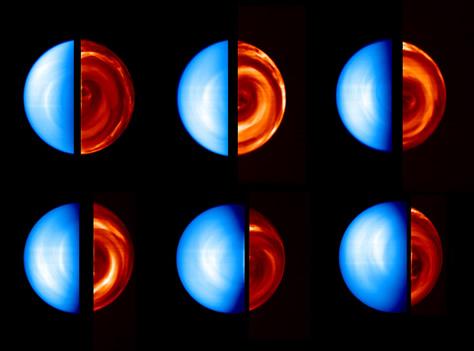 Esta secuencia de imágenes del hemisferio sur de Venus fue obtenida por el espectrómetro VIRTIS a bordo de la Venus Express entre el 12 y el 19 de abril de 2006, durante su primera órbita de captura en torno al planeta. Cada imagen individual de Venus está compuesta por una captura de su lado diurno (a la izquierda, en color azul, con una longitud de onda visible de 380 nanómetros) y otra de su lado nocturno (a la derecha, en colores rojizos, con una longitud de onda infrarroja de 1,7 micrones). El hemisferio diurno muestra la radiación solar reflejada por la atmósfera, mientras que el hemisferio nocturno muestra complejas estructuras de nubes, reveladas por la radiación térmica proveniente de distintas profundidades atmosféricas. Créditos: ESA / VIRTIS / INAF-IASF / Observatorio de París-LESIA.