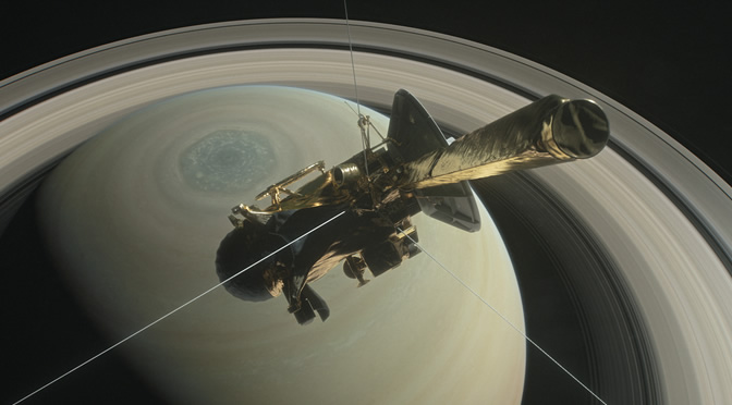 Cassini en sus órbitas finales en torno a Saturno