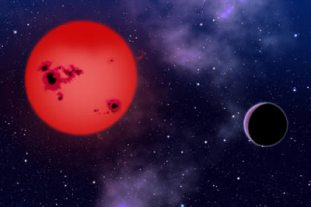 Bir gökbilim meraklısı ressam tarafından yapılan bu resimde kırmızı cüce çevresinde gezegen görülüyor. (David A. Aguilar, CfA)