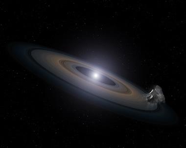 Asteroiti parçalayan beyaz cüce ve çevresindeki enkaz kalıntısını gösteren resim. (NASA, ESA, and G. Bacon (STScI))