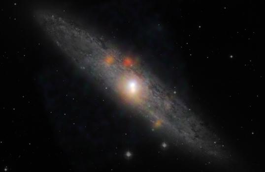 NuSTAR ve Chandra verileriyle oluşturulmuş Heykeltraş gökadası görüntüsü. Turuncu nokalar NuSTAR verileriyle gözlenen yüksek enerili X-ışını kaynaklarıdır. (NASA/JPL-Caltech/JHU)