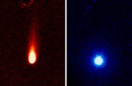 Soldaki 3,6 mikron dalga boyunda alınmış görüntüde güneş ışığı etkisiyle geriye yönelmiş ince kayalıklı tozdan oluşmuş şişkin kuyruğu görülüyor. Sağdaki görüntü ise 3,6 ile 4,5 mikron dalgaboyunda alınmıştır. Bu görselde ISON'u çevreleyen gaz atmosferi görülüyor. Buna göre kuyrukluyıldızdan günde yaklaşık 1 milyon kg karbondioksit fışkırmaktadır. (NASA/JPL-Caltech/JHUAPL/UCF)
