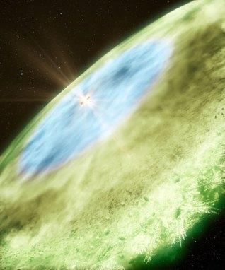 TW Hydrae yıldızının iç diskteki su buzu (4,5-30 astronomi birimi, mavi) ve bundan sonra görülen karbonmonoksit buzu (30 astronomikten sonra, yeşil) resmedilmiş. Mavi bölgeden sonra, yıldıdan uzaklaştıkça farklı maddelerin donma sıcaklıklarına göre değişik kar çizgileri ortaya çıkıyor. (B. Saxton & A. Angelich/NRAO/AUI/NSF/ALMA (ESO/NAOJ/NRAO))