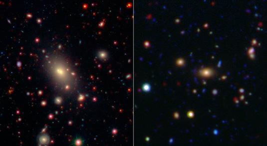 Bu görüntü WISE ile Spitzer Uzay Teleskopu'nun gözlemlediği iki gökada kümesini gösterir. Gökada kümeleri evrendeki en büyük yapılar arasındadır. Görüntülerin merkezlerinde görülenler en parlak gökada kümesi veya BCG adı verilen gruplara örnektir. (NASA/JPL-Caltech/SDSS/NOAO)