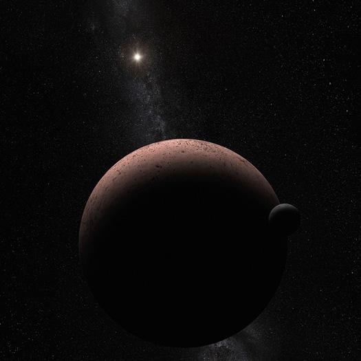 Güneş Sistemi'ndeki onaylanmış beş cüce gezegenden Makemake'in bir uydusu ortaya çıktı. 1400 km çapındaki Bir cüce gezegenin uydusunun olması gezegen sistemi üzerinde önemli bilgiler verebilir. Uydunun keşfi diğer cüce gezegenlerin de uydusu olma olasılığını arttırıyor (NASA, ESA, and A. Parker (Southwest Research Institute)).