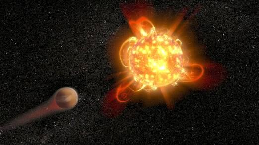 Kırmızı cüceler aktif yıldızlardır ve atmosferdeki kimyaları gereği muhtemelen yeni doğan gezegenlerin atmosferlerini etkileyecek kadar yüksek enerjili morötesi ışıma üretirler. (NASA, ESA and D. Player (STScI))