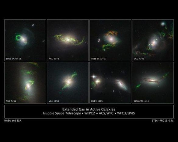 Αυτές οι εικόνες από το διαστημικό τηλεσκόπιο Hubble αποκαλύπτουν μια σειρά από παράξενα, πρασινωπά, επαναλαμβανόμενα, σπιράλ, και σχήματα πλεγμένα  γύρω από οκτώ ενεργούς γαλαξίες. Αυτοί οι τεράστιοι κόμβοι σκόνης και αερίου φαίνονται πρασινωποί επειδή εκπέμπουν λαμπερό φως κυρίως από ιονισμένα άτομα. Κάθε γαλαξίας φιλοξενεί ένα λαμπρό κβάζαρ που μπορεί να έχει φωτίσει τις δομές.