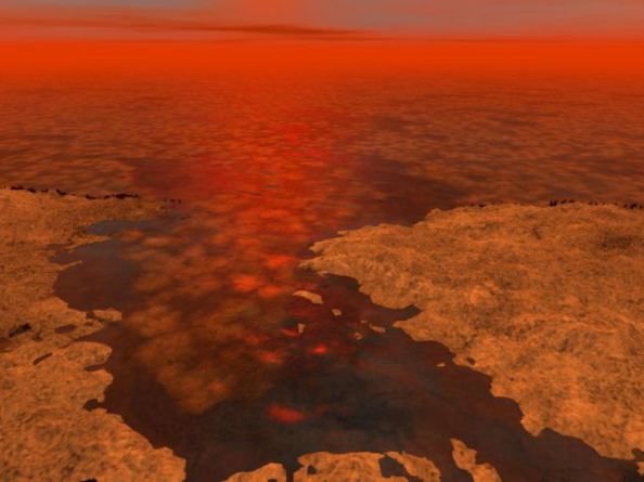 Kαλλιτεχνική απεικόνιση παγόβουνων από υδρογονάνθρακες στην επιφάνεια του δορυφόρου του Κρόνου, Τιτάνα.