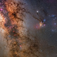 Mars and Saturn in the heart of the Milky Way
