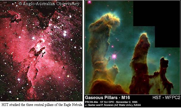 Eagle Nebula from ground and space