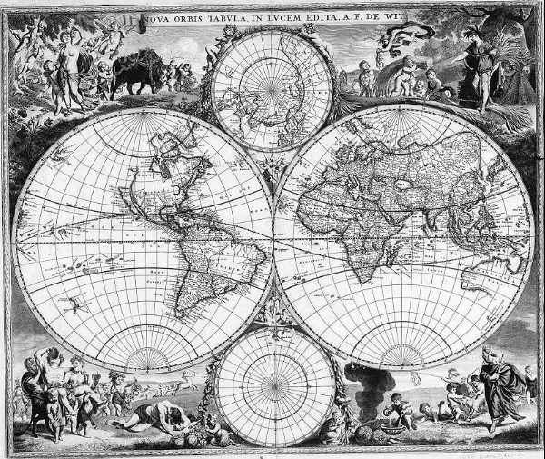 World map at time of Newton