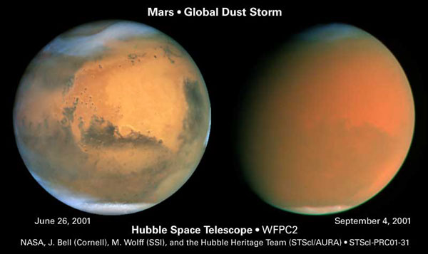 Mars global dust storm from HST