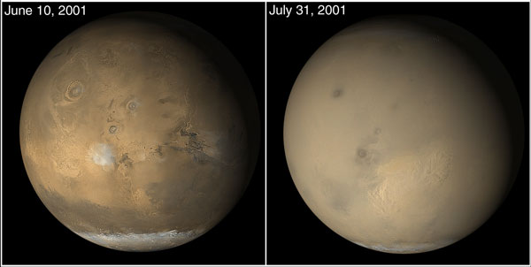 Mars global dust storm from MGS