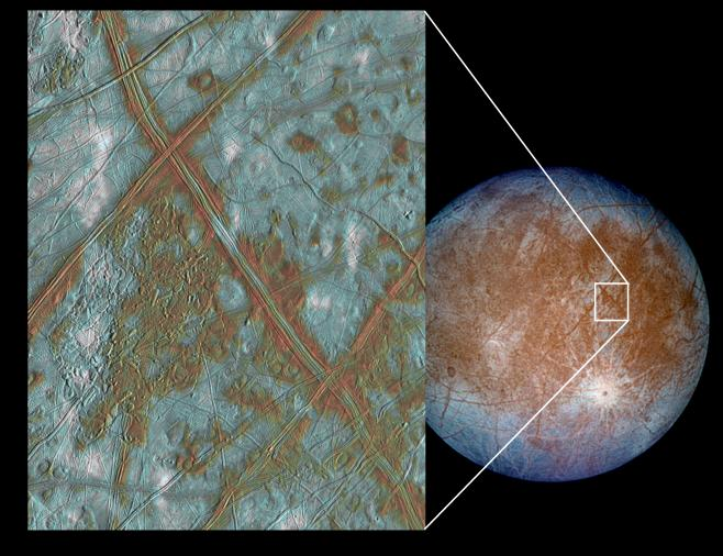 Europa has ice blocks that have floated about