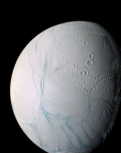 Tiger stripes at the south pole area of Enceladus