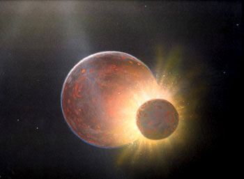 Mars-sized object smashes into the Earth