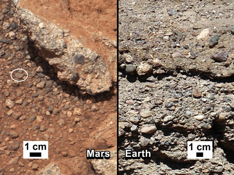 Gravel on Mars that must have been transported by water