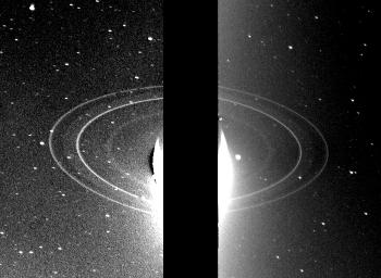 Voyager 2 view of Neptune's rings -- backlit