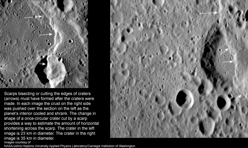 Superposition of scarp on top of craters