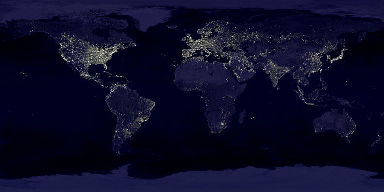 city lights as seen from space
