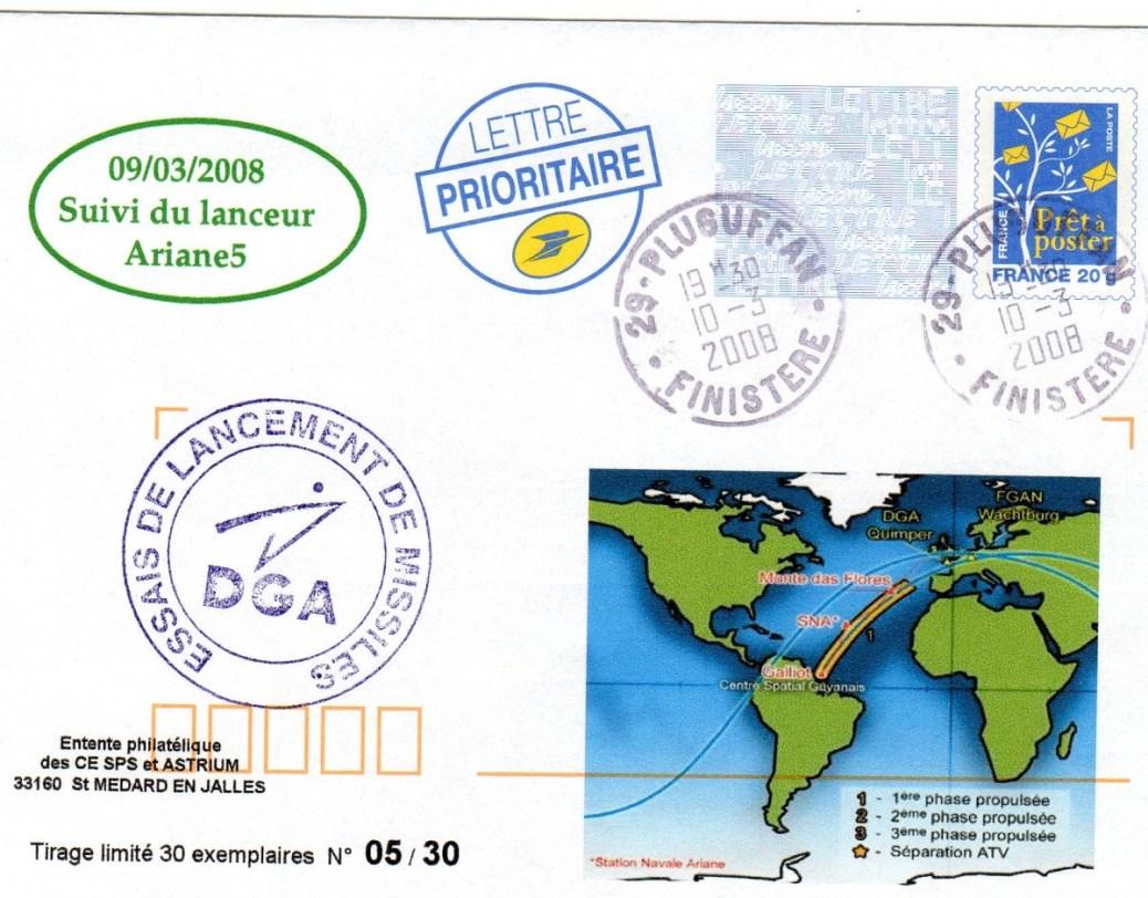 A181 5 - Vol 181 - 09 Mars 2008 - Suivi trajectoire de tir par radar station DGA de Pluguffan (Finistère)